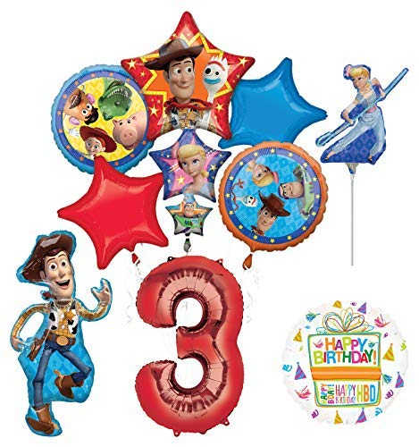 Mayflower Products Toy Story Party Supplies Woody and Friends 3rd Birthday Balloon Bouquet Decorations -