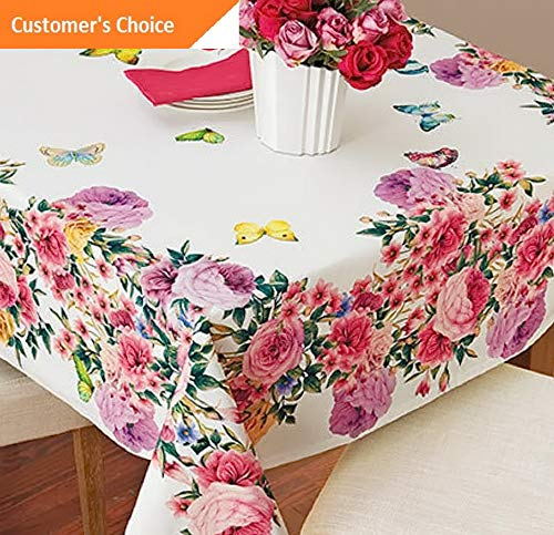Kaputar Butterfly Roses Tablecloth Table Cover Vibrant Beautiful Luxury Cloth Garden New | Model TBLCLTH - 945 | 60034 ()