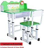 TruGood Kid's Wooden Learning Activity Study Table and Chair Set (Green)