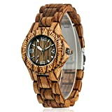 CUCOL Women's Wooden Watch Analog Quartz Lightweight Date Display Handmade Wood Wristwatch with Gift Box