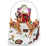 "6"" Santa Sleigh and Reindeers Deliver Christmas Gifts Music Snow Globe"