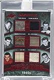 Turk Broda; Frank Brimsek; Maurice Richard; Bill Mosienko; Sid Abel; Ted Kennedy Manufacturer ENCASED Uncirculated #3/3 (Hockey Card) 2016-17 Leaf Ultimate - Decades Memorabilia - Red Spectrum #UD-06