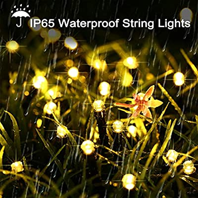 LYHOPE Solar String Lights, 72ft 200 LED 8 Modes Waterproof Christmas Fairy String Lights for Garden, Patio, Home, Party, Wedding, Holiday, Xmas Tree, Outdoor Decor (Warm White, 2 Pack)
