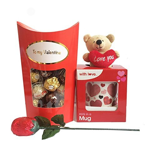 Valentines Gift Set with Mug and Teddy Bear, Chocolate Rose, Ferero Rocher Chocolates by Premier Life Store ()