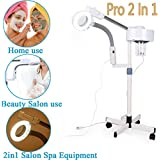Professional Facial Steamer 3X/5X Magnifying LED Lamp Machine Multifunctional 2in1 Facial Steamer Spa Salon Beauty Facial Clean Skin Care Equipment (5X)