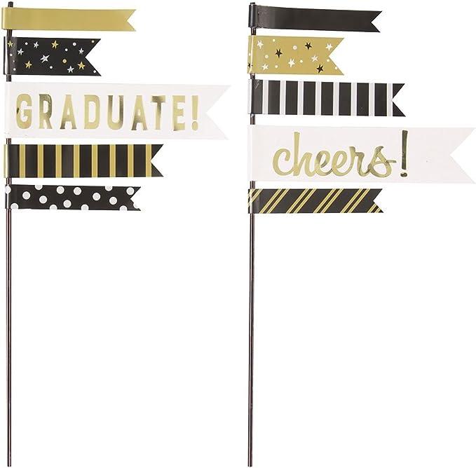 Unique Party 58629 You Did It Juego de 2 decoraciones para tartas con dise/ño de bandera de graduaci/ón