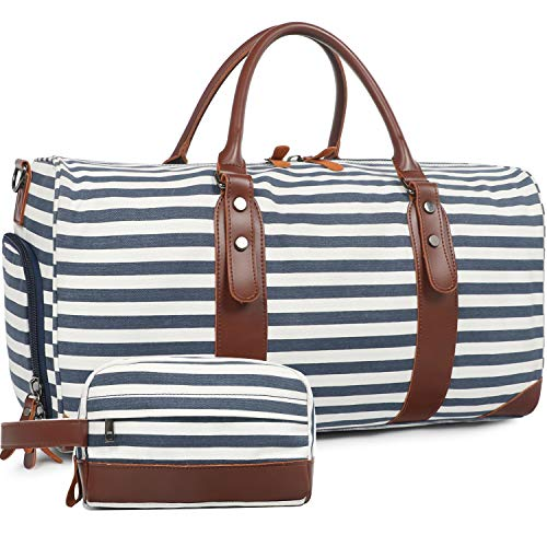 Oflamn Large Duffle Bag Canvas Leather Weekender Overnight Travel Carry On Tote Bag with Shoe Compartment and Toiletry Bag (Stripe 2019 S/S)