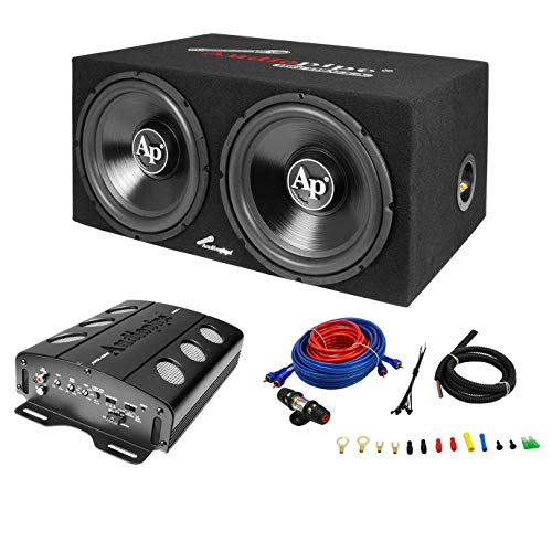 "Audiopipe Super Bass Combo pack Dual 12"" Loaded Box Amp Amp Kit"
