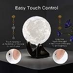 BRIGHTWORLD Moon Lamp, 3.5 inch 3D Printing Lunar Lamp Night Light with Black Hand Stand as Kids Women Girls Boy…