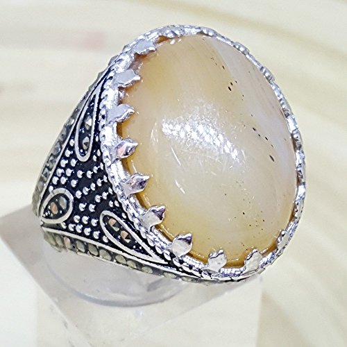 925 sterling silver men ring natural honey agate aqeeq akik