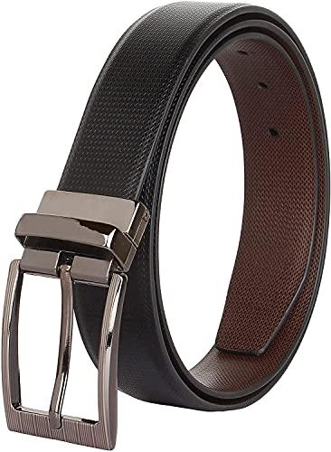 Urbanity Men's Reversible Leather Formal Belts(Black-Brown)