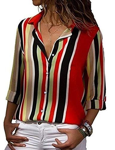 Tops Ray Grande Classique Blouse de Hauts Chic T Manche lgant Soie Cov Tunique Taille Femme Longue Chemisier Tee Chemise Boutonn Mousseline V multicolore A Casual Shirts Rq8Aw