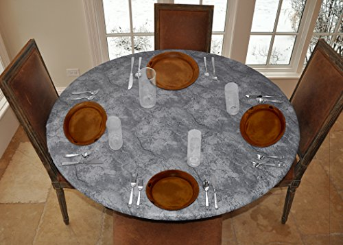 LAMINET - Elite Elastic Edged Print Table Pad - Marble Grey - Large Round - Fits Tables up to 45