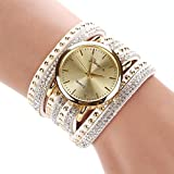 Bestpriceam New Women Crystal Rivet Bracelet Quartz Braided Winding Wrap Wrist Watch