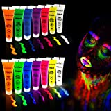 UV Neon Face & Body Paint Set - festiFACE Ultra Glow Fun Party & Festival kit with 7 Large 0.5oz Black Light Reactive Colors. Incredible Glow & Fluorescent Effects - 100% NonToxic