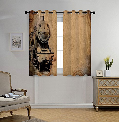 Train Window - iPrint Stylish Window Curtains,Steam Engine,Antique Old Iron Train Aged Sepia Grunge Style Design Industrial Theme Artsy Print,Brown,2 Panel Set Window Drapes,for Living Room Bedroom Kitchen Cafe