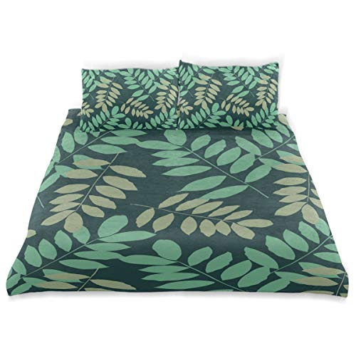 Amanda Billy Color Shade of Palm Leaves Bedding 3 Piece Set Bedding Set Full Set 66 × 90 in Bed Cover, 2 Pillowcase Pattern Soft Microfiber Bed Cover Set Children's ()