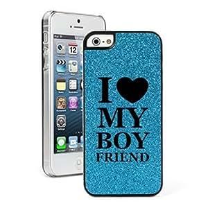 Apple iPhone 5 5s Glitter Bling Hard Case Cover I Love My Boyfriend (Blue)