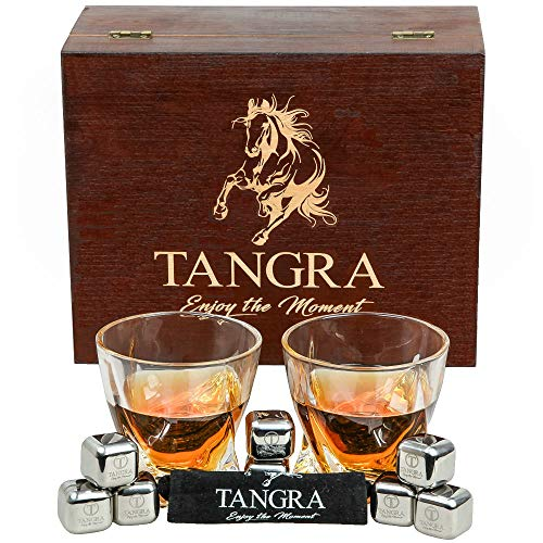 WHISKEY STAINLESS STEEL STONES LUXURY GIFT SET of 8 Ice Cubes. Reusable Chilling Rocks + Large Scotch Glasses in Premium Wooden Box. Cool Gift Sets for Men, Father, Dad by TANGRA