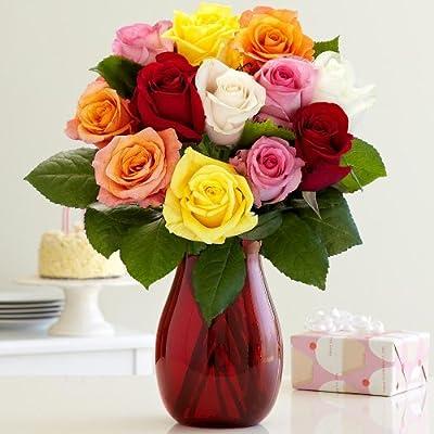 One Dozen Vibrant Valentine's Day Roses (with FREE glass vase) - Flowers