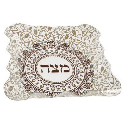 Plate Passover Matzah (Matzah Holder Plate for Passover Plastic Scalloped Edge Designed with Brown Paisley Print)