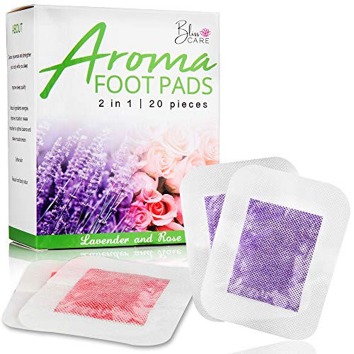 Foot Care Foot Pad Patches: Adhesive Foot Pads with Bamboo Vinegar & Natural Ingredients - Lavender & Rose Infused - Improve Sleep, Relaxation, Circulation, Muscle Tension & Energy- 20 Patch Pack