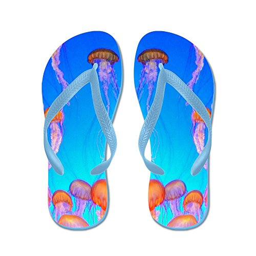 CafePress Jelly Fish - Flip Flops, Funny Thong Sandals, Beach Sandals Caribbean Blue
