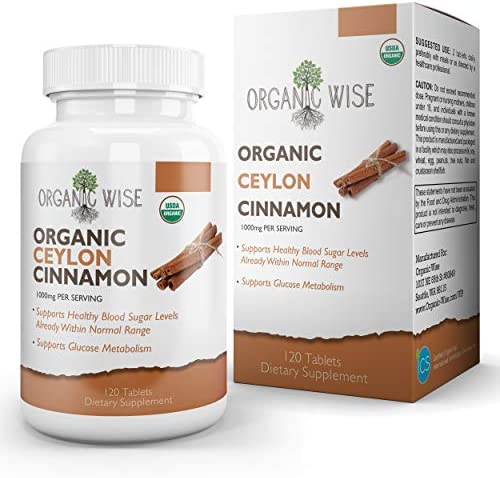 Organic Ceylon Cinnamon, 1000mg, Pure Support for Healthy Blood Sugar Levels, Natural Anti-Inflammatory, Anti-Aging Antioxidants to Help Joint and Muscle Relief by Organic Wise