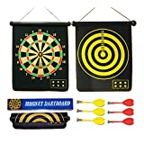 "BSTcentelha 15"" Safety Dart Board Game Roll up Two Sided Reversible Bullseye Target Magnetic Dartboard With 6 Darts for Kids"