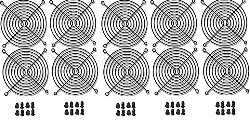 120mm Black Fan Grill / Guard with screws (10 pack)