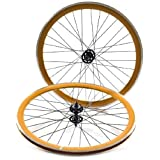 State Bicycle Fixed Gear/Fixie 700c Machined Track Wheels, Front Plus Rear, Orange/Black by State Bicycle Co.