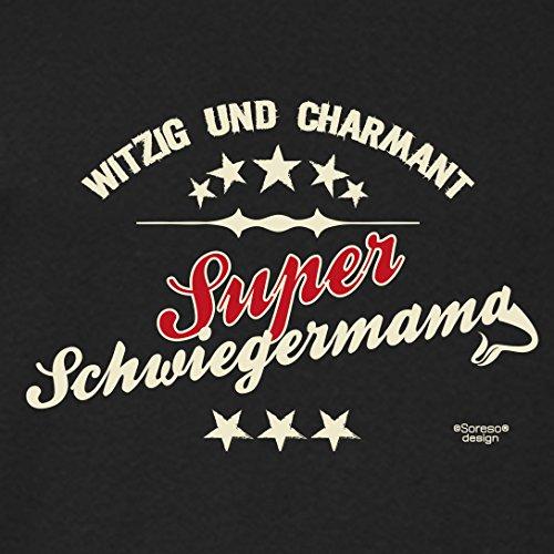 Damen-Girlie-Fun-T-shirt Top Geschenk GRATIS Urkunde - Super Schwiegermama Farbe: schwarz Gr: M