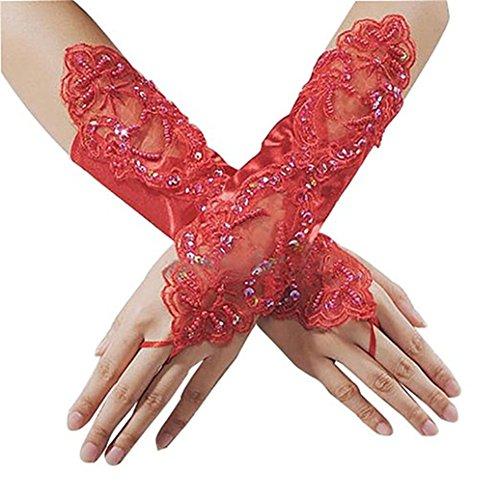 Academyus Lady Girl Elegant Lace Rhinestone Bridal Dress Gloves Hand-woven Fingerless Flora Pierced Wedding Party Prom Gloves Decor - Red Rhinestone Bridal Gloves