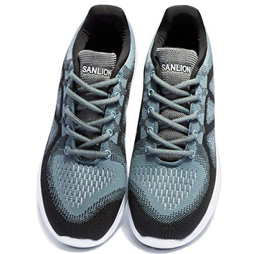 Männer stricken Laufschuhe Cross Training Schuhe leichte Sportschuhe Outdoor-Turnschuhe Grau schwarz
