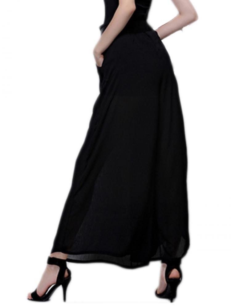 Enlishop Women's Black Chiffon Pleated Elastic Waist Wide Leg Palazzo Pants by Enlishop (Image #4)