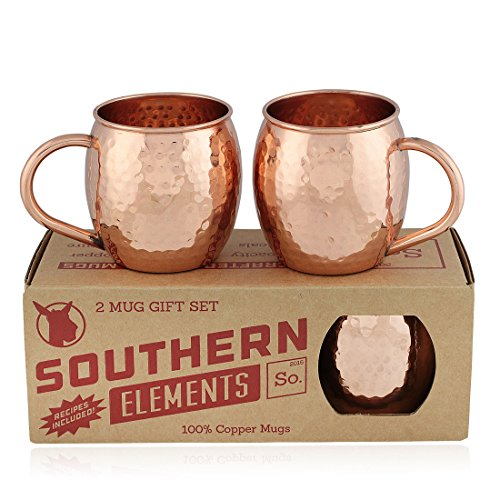 Handcrafted 100  Pure Copper Mug Gift Set For Moscow Mules  2 Pack   Includes Bonus Recipe Booklet