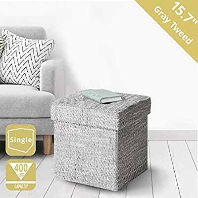 Brilliant Seville Classics Web596 15 7 Tweed Foldable Storage Ottoman Footrest Toy Box Coffee Table Stool Single Alphanode Cool Chair Designs And Ideas Alphanodeonline