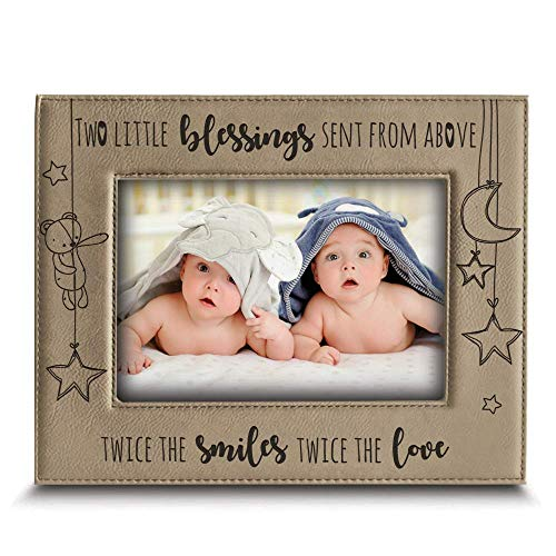 BELLA BUSTA- Twice The Blessings from Above,Twice The Smiles, Twice The Love-Twins New Baby Gift-Twin Frame Boy Twins Girl Twins-Nursery Decor-Engraved Leather Picture Frame (4