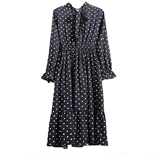 soAR9opeoF Autumn Fashion Polka Dot Flower Print Bowknot Women Long Sleeve Chiffon Dress 3 L