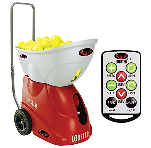 Lobster Sports - Elite Two Tennis Ball Machine with Elite 10-Function Remote Control - Triple Oscillation - Lightweight - 4- to 8-Hour Battery Life - 50 Degree Lobs - Optional -