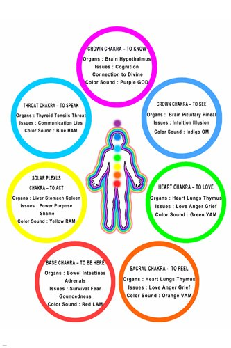 body chakra chart: Amazon com chakra chart poster colors meanings body parts 24x36