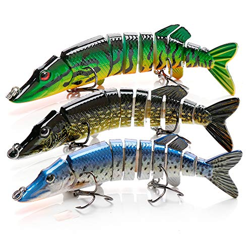BLure Fishing Lure for Pike - Multi-Jointed Bass Fishing Lures - Slow Sinking Hard Bait with Treble VMC Hooks - 3D Realistic Eyes and Built-in Steel Balls - 12 cm Aggressive Action Pike Bait (3) (Giant Fishing Lures For Pike)
