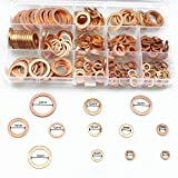 Sutemribor 300Pcs 12 Sizes Copper Metric Sealing Washers Assortment Set