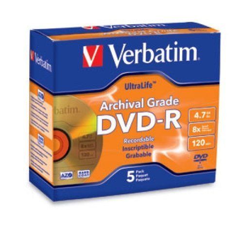 VERBATIM 96320 / 5PK DVD-R 8X ULTRALIFE ARCHIVAL GRADE GOLD SHINY JEWEL CASE by Verbatim