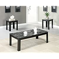 Black/Grey Marble-Look Top 3 Piece Table Set