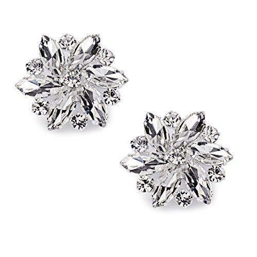 ElegantPark AJ Shoes Dress Hat Accessories Fashion Rhinestones Crystal Shoe Clips 2 Pcs Silver