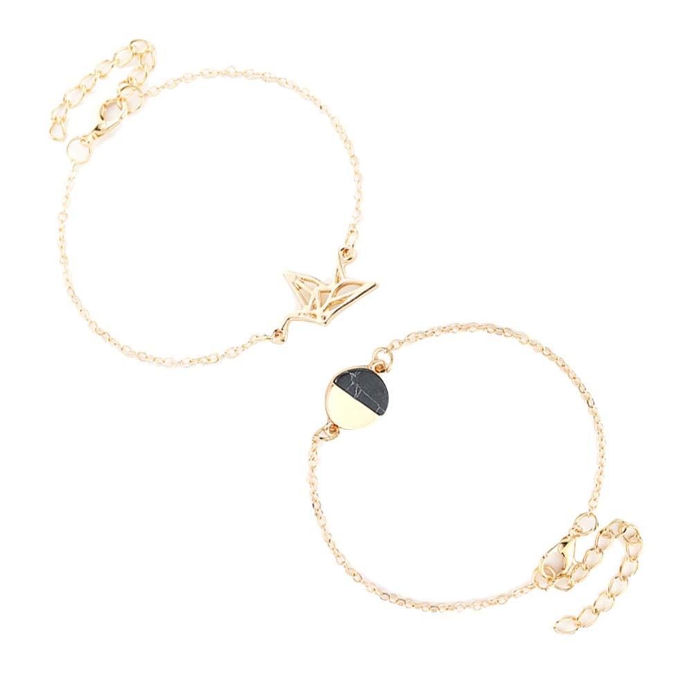 Angel3292 2Pcs/Set Hollow Dove Round Charm Chain Bracelet Fashion Women Party Jewelry Gift