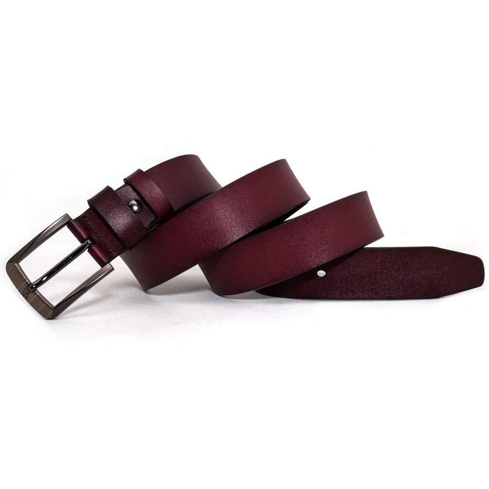 AmyKer uomo Cintura da in vera pelle con fibbia ad ardiglione nero marrone regalo per lui ritagliata