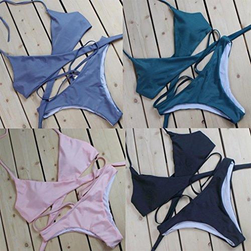 Ouneed Las mujeres push-up acolchado halter playa Bra bikini conjunto de color sólido traje de baño Negro