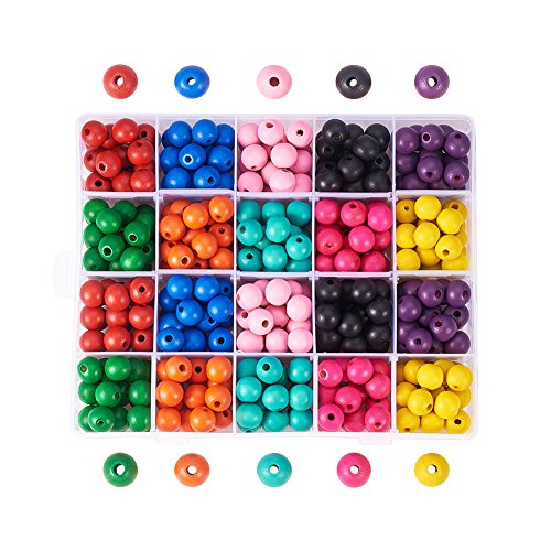 Pandahall Elite 1 Box (About 400pcs) 14mm Dyed Environmental Round Wood Beads 10 Colors with Box for DIY Crafting Jewelry making ()